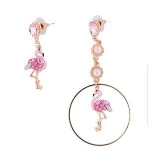 Pink Flamingo Dangle Crystal Statement Earrings